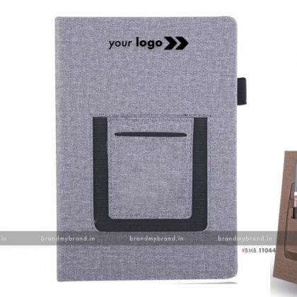 Personalized Grey Jute Mobile Pocket - Hard Cover A5 Notebook