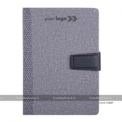 Personalized Jute Loopi - Grey - Hard Cover A5 Notebook