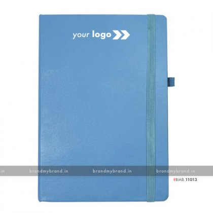 Personalized Light Blue (PU) - Hard Cover A5 Notebook