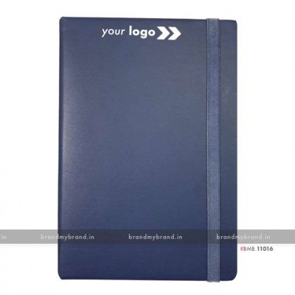 Personalized Navy Blue (PU) - Hard Cover A5 Notebook