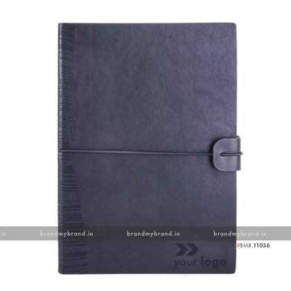 Personalized Navy Blue - Elastic Lock Premium - Soft Cover A5 Notebook