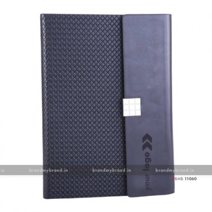 Personalized Navy Blue Magnetic Lock Premium - Hard Cover A5 Notebook