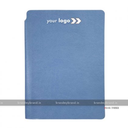 Personalized Sky Blue - Pen Holder - Soft Cover A5 Notebook