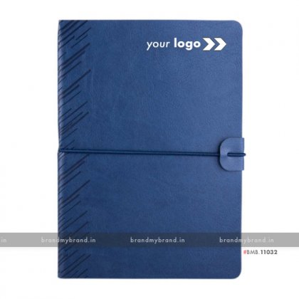 Personalized Soft Elastic -Navy Blue - Soft Cover A5 Notebook