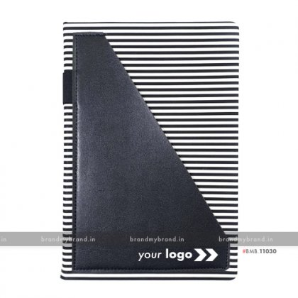 Personalized Strip Pocket - Black - Hard Cover A5 Notebook