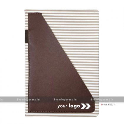 Personalized Strip Pocket - Brown - Hard Cover A5 Notebook