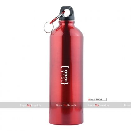 Personalized Black Sports Bottle With Carabiner (750Ml)