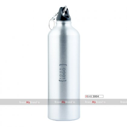 Personalized Silver Sports Bottle With Carabiner (750Ml)