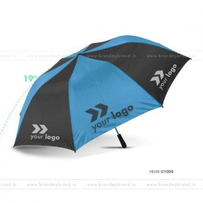 Light Blue and Black Umbrella -21 inch, 2 Fold