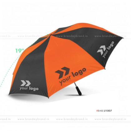 Orange and Black Umbrella -21 inch, 2 Fold