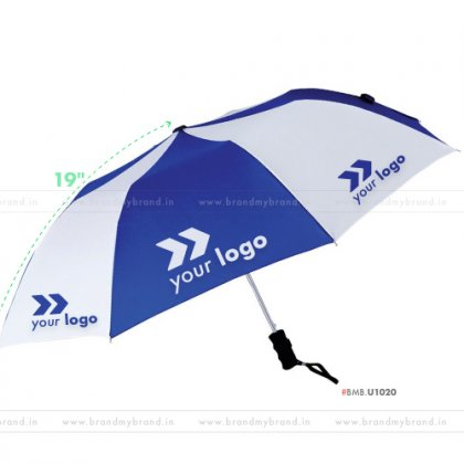 Royal Blue and White Umbrella -21 inch, 2 Fold