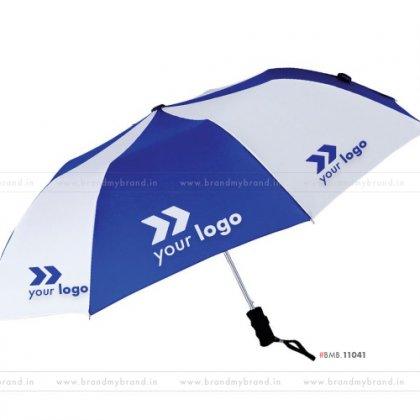 Royal Blue and White Umbrella -24 inch, 2 Fold