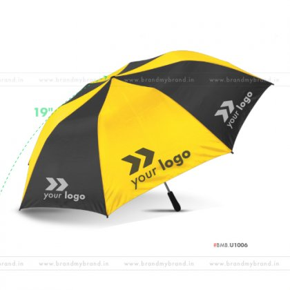 Yellow and Black Umbrella -21 inch, 2 Fold