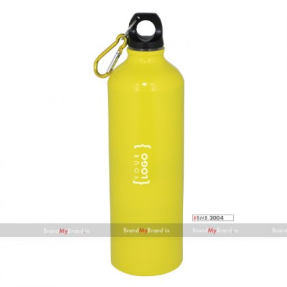 Personalized Yellow Sports Bottle With Carabiner (750Ml)