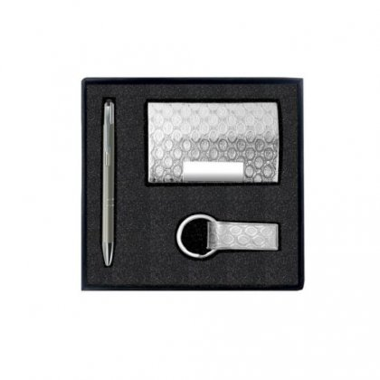 Silver Gift Set Of Three (Card Holder, Keychain And Pen) Option 1