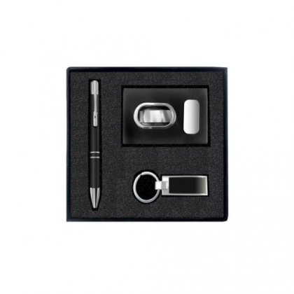 Silver Gift Set Of Three (Card Holder, Keychain And Pen) Option 2