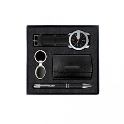Gift Set Of Four (Card Holder, Keychain, Pen And Wrist Watch)