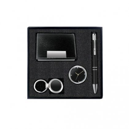 Gift Set Of Four (Card Holder, Keychain, Pen And Table Clock)