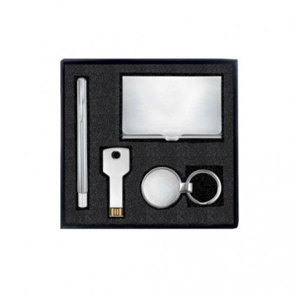 Gift Set Of Four (Card Holder, Keychain, Pen And Pen Drive - 8Gb)