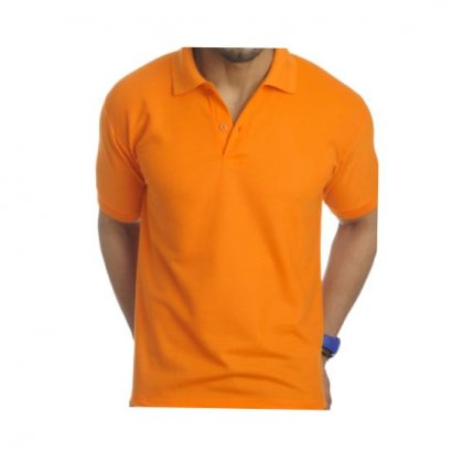 Personalized Polo T Shirt (Orange) Polyester Cotton