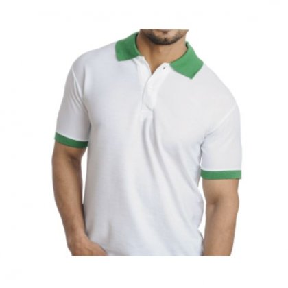 Personalized Polo T Shirt (White-Parrot) Polyester Cotton