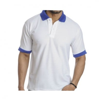 Personalized Polo T Shirt (White-Royal) Polyester Cotton