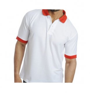 Personalized Polo T Shirt (White-Red) Polyester Cotton