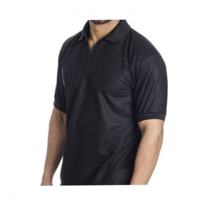 Personalized Polo T Shirt (Black) Polyester Cotton