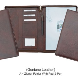 Personalized A 4 Zipper Folder With Pad & Pen - Genuine Leather