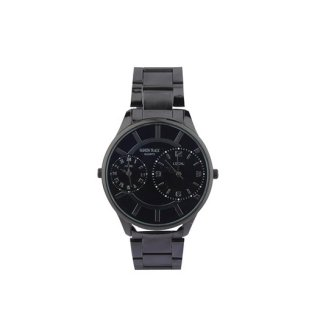 Personalized Black/ Black Dual Time Watch