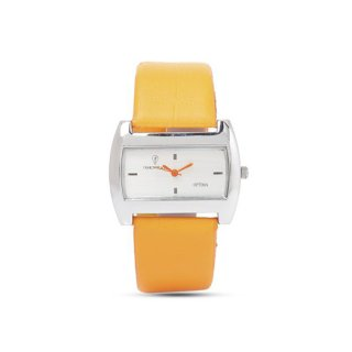 Personalized White/ Orange Analog Watch