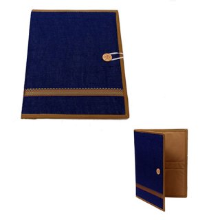 Personalized Jute Folder With Golden Strip