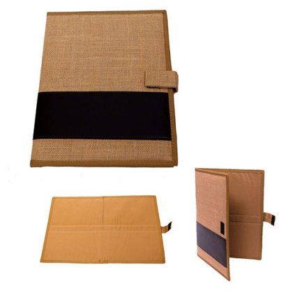 Personalized Jute Folder - PU Strip