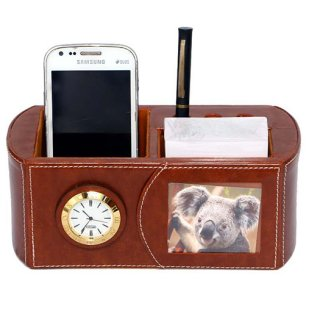 Personalized Pen Stand With Photo Frame And Clock