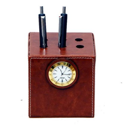 Personalized Pen Stand Square With Clock