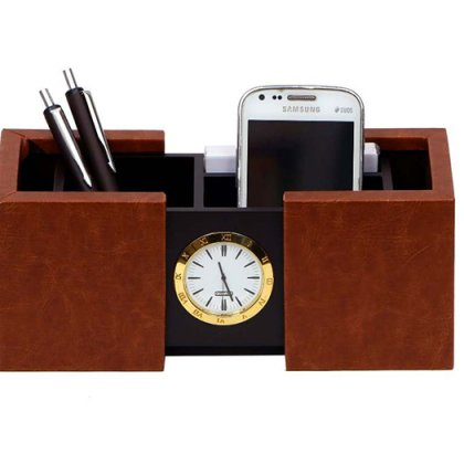 Personalized Pen Stand Sliding With Clock
