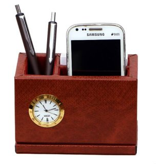 Personalized Revolving Pen stand With Clock