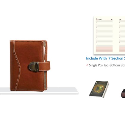 Personalized Business Organiser With 1Dt 7 Sec Refill (7006) (Natural) With Lock