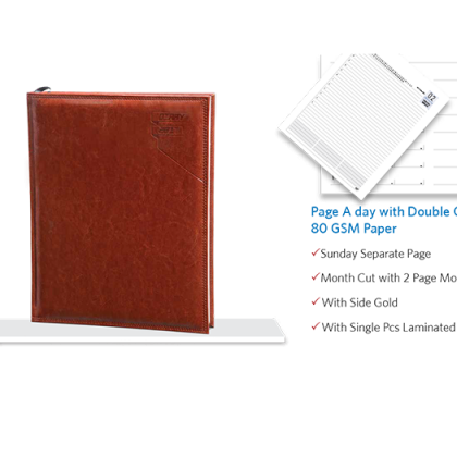 Personalized Chairman 1 Date D/ C, S/ S, 2 Page Planner, M/ C, 80 GSM (With Side Gold & Laminated Box)