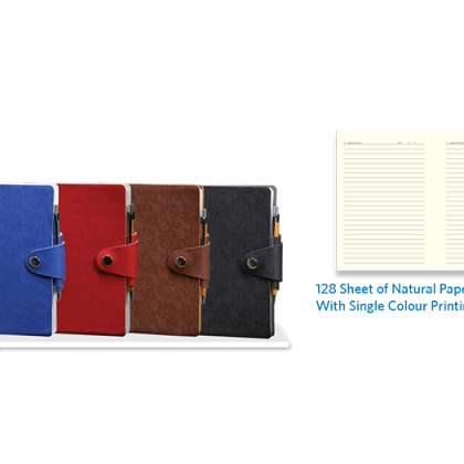 Personalized A - 5 Note Book, S/ C, 128 Sheet (Natural) With Pen