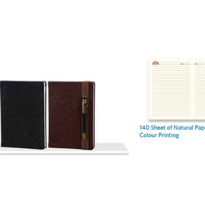 Personalized A - 5 Note Book, D/ C, 140 Sheet (Natural) With Pen