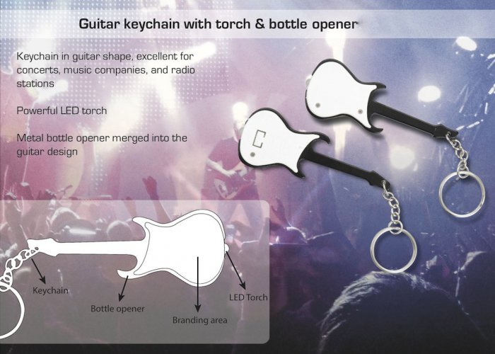 Personalized Guitar Keychain With Torch & Bottle Opener in