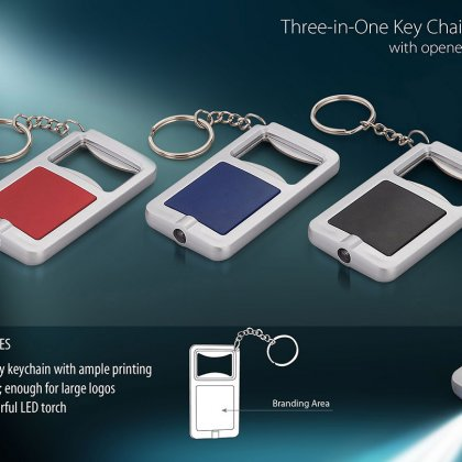 Personalized 3 In 1 Key Chain With Opener And Torch (Rectangle)