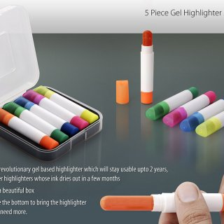 Personalized 5 Pc Gel Highlighter Set  (With Box)