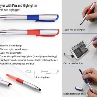 Personalized Stylus Pen With Non - Drying Gel Highlighter