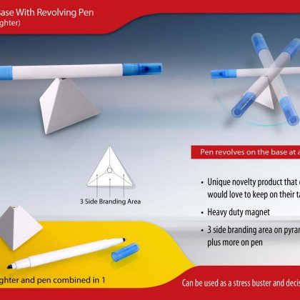 Personalized Pyramid Stand With Revolving Pen & Highlighter
