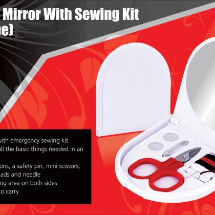 Personalized Folding Mirror With Sewing Kit (D Shape)