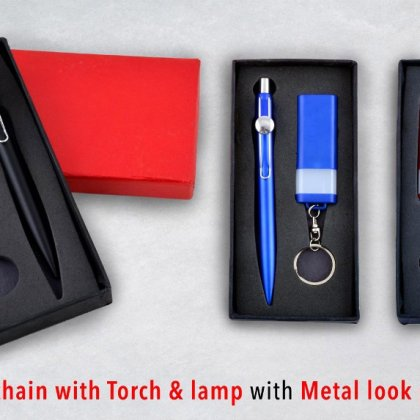 Personalized Set of Keychain With Torch & Lamp With Metal Look Pen