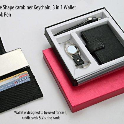 Personalized Set of 3 : Eye Shape Carabineer Keychain, 3 In 1 Wallet