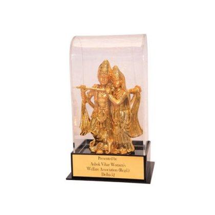 Personalized Radhe Krishna Wooden Trophy